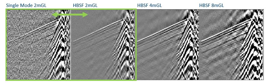 Four Seismic Shot Gather images comparing single mode and enhanced fibers with different gauge lengths